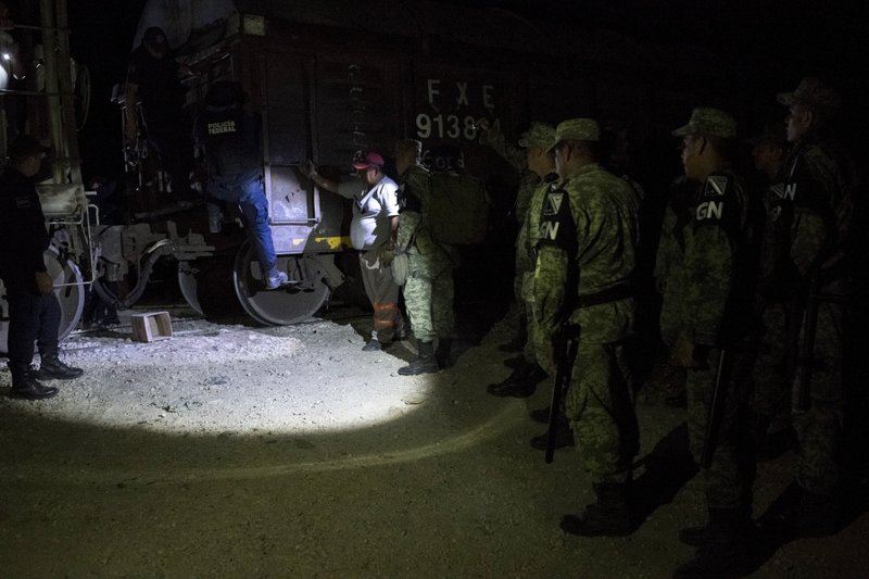 CORRECTS DATE - Military police wearing the insignia of the new National Guard raid the cargo train known as