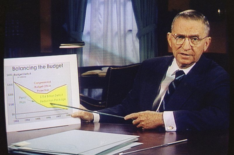 FILE – In this Oct. 16, 1992, file photo, Ross Perot is shown on a screen in a paid 30-minute television commercial, during a media preview in Dallas. Perot, the Texas billionaire who twice ran for president, has died, a family spokesperson said Tuesday, July 9, 2019. He was 89. (AP Photo, File)