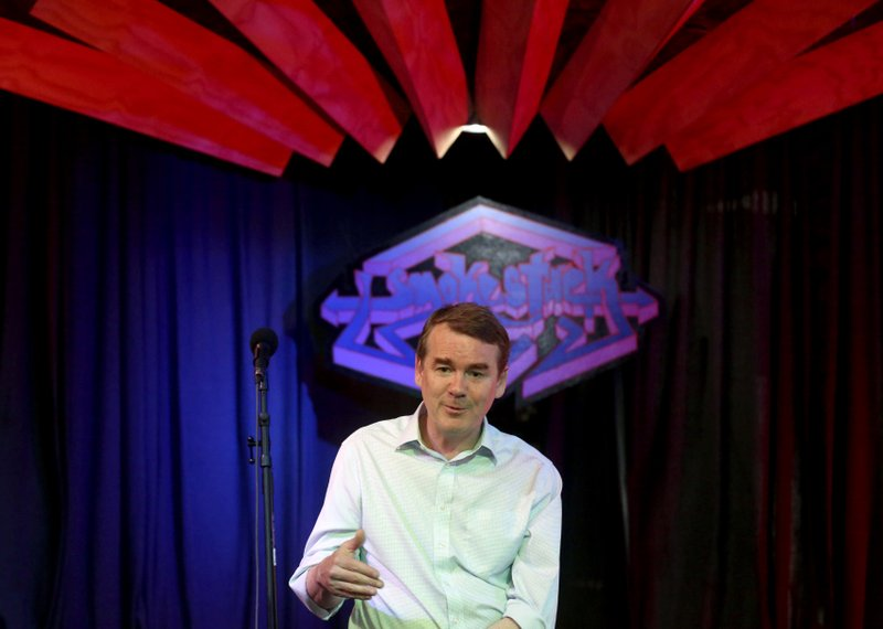Democratic presidential candidate U.S. Sen. Michael Bennet, D-Colo., speaks during a meet-and-greet event at The Smokestack in Dubuque, Iowa, on Sunday, July 14, 2019. (Jessica Reilly/Telegraph Herald via AP)