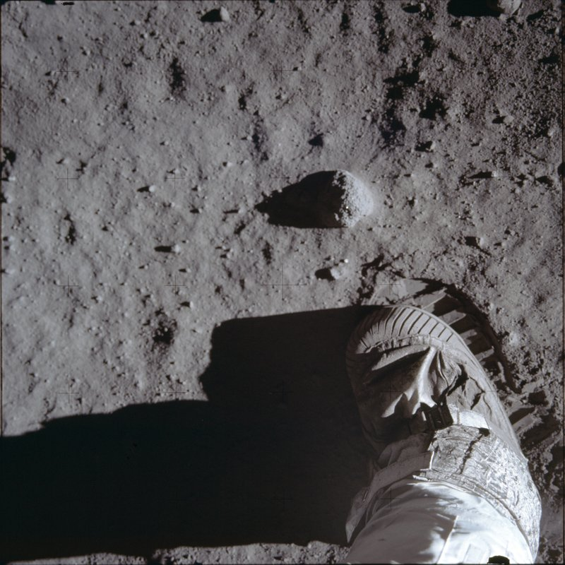 This July 20, 1969 photo made available by NASA shows Buzz Aldrins boot and bootprint during a test of the lunar soil during the Apollo 11 extravehicular activity. (Buzz Aldrin/NASA via AP)