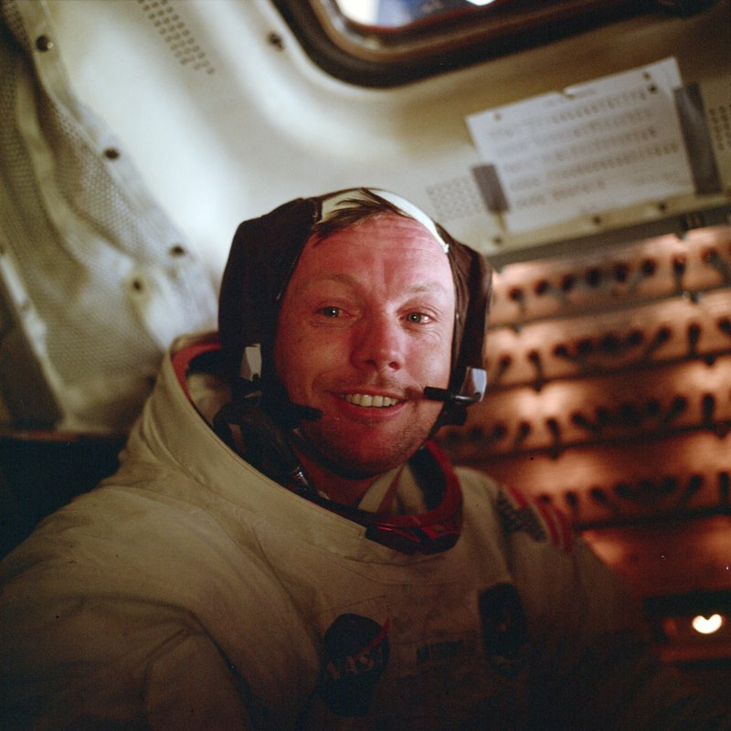 In this July 21, 1969 photo made available by NASA, astronaut Neil Armstrong, Apollo 11 commander, sits inside the Lunar Module after he and Buzz Aldrin completed their extravehicular activity on the surface of the moon. (Buzz Aldrin/NASA via AP)