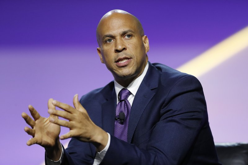 Democratic presidential candidate Sen. Cory Booker, D-N.J., speaks during a candidates forum at the 110th NAACP National Convention, Wednesday, July 24, 2019, in Detroit. (AP Photo/Carlos Osorio)