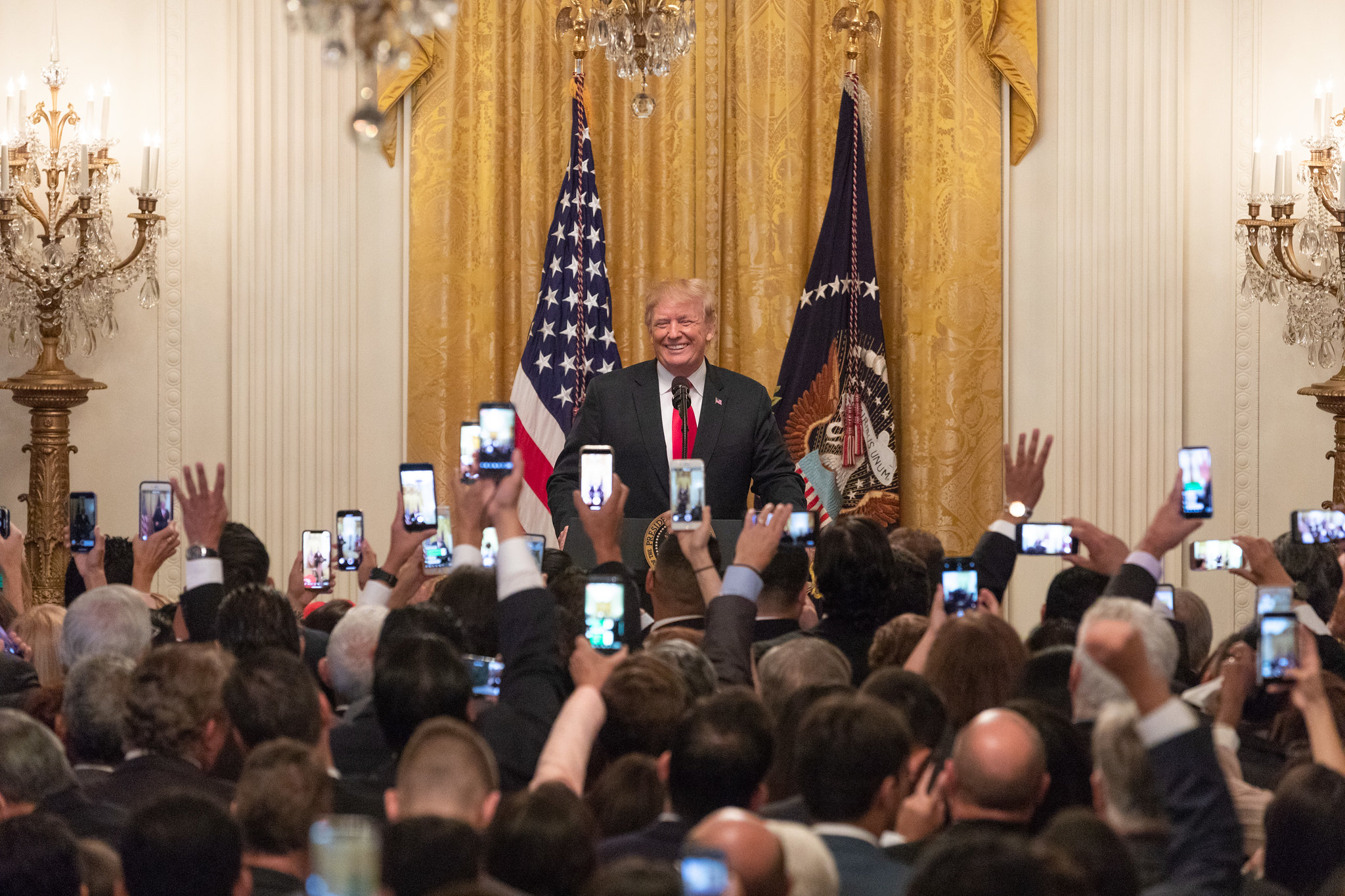 President Donald J. Trump delivers remarks at the Hispanic Heritage Month celebration Monday, Sept. 17, 2018, in the East Room of the White House. (Official White House Photo by Joyce N. Boghosian)