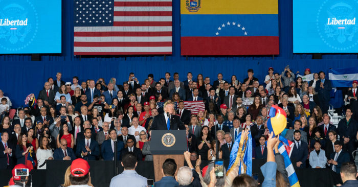 President Donald J. Trump delivers remarks to the Venezuelan American community at the Florida International University Ocean Bank Convocation Center Monday, Feb. 18, 2019 in Miami, Fla. (Official White House Photo by Andrea Hanks)