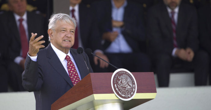 President Andrés Manuel López Obrador speaks before the National Guard during the presentation of this new force at a ceremony on the Campo Marte in Mexico City on Sunday, June 30, 2019. (AP Photo / Christian Palma)