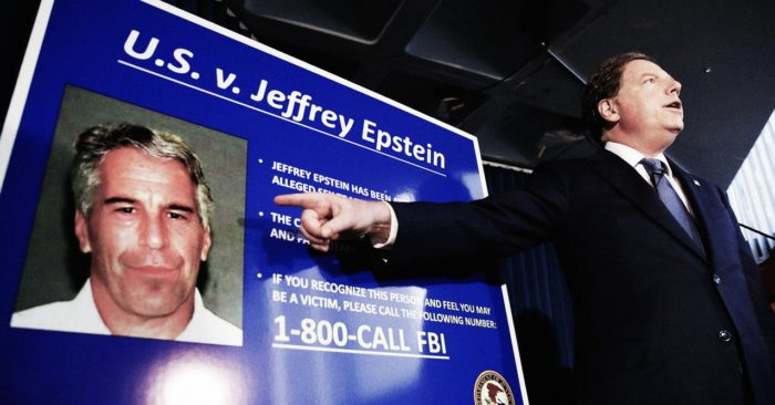 Announcement of the new charges against Jeffrey Epstein. (EPA)