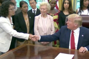 President Trump with survivors of religious persecution from around the world