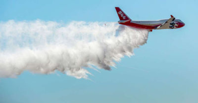 A SuperTanker plane from the US helping combat Amazon rainforest fires