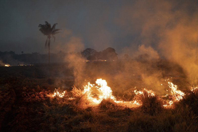 A fire burns a field on a farm in the Nova Santa Helena municipality, in the state of Mato Grosso, Brazil, Friday, Aug. 23, 2019. Under increasing international pressure to contain fires sweeping parts of the Amazon, Brazilian President Jair Bolsonaro on Friday authorized use of the military to battle the massive blazes. (AP Photo/Leo Correa)
