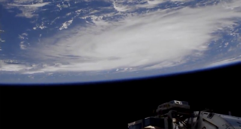 This Thursday, Aug. 29, 2019 image provided by NASA shows a view of Hurricane Dorian from the International Space Station as it churned over the Atlantic Ocean north of Puerto Rico.  Leaving mercifully little damage in its wake in Puerto Rico and the Virgin Islands, Hurricane Dorian swirled toward the U.S., with forecasters warning it will draw energy from the warm, open waters as it closes in.  (NASA via AP)