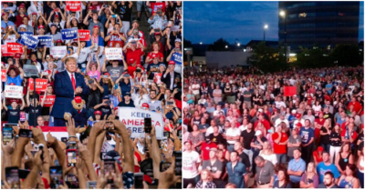 President Trump posts photo of huge crowd at New Hampshire to dismiss Dems, fake news