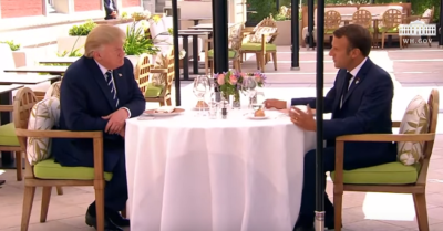 President Macron holds working luncheon with President Trump, calls him special guest