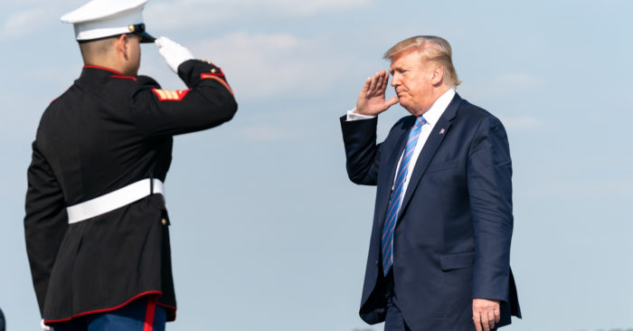 President Donald J. Trump salutes as he prepares to board Marine One at the Morristown Municipal Airport in Morristown, N.J., Friday, Aug 2, 2019, for his flight to Bedminster, N.J. (Official White House Photo by Shealah Craighead)