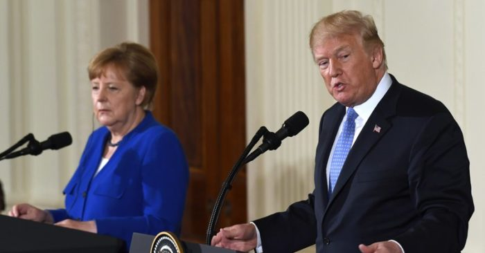 President Donald Trump speaks during a news conference with German Chancellor Angela Merkel in the East Room of the White House in Washington, Friday, April 27, 2018. (AP Photo/Susan Walsh)