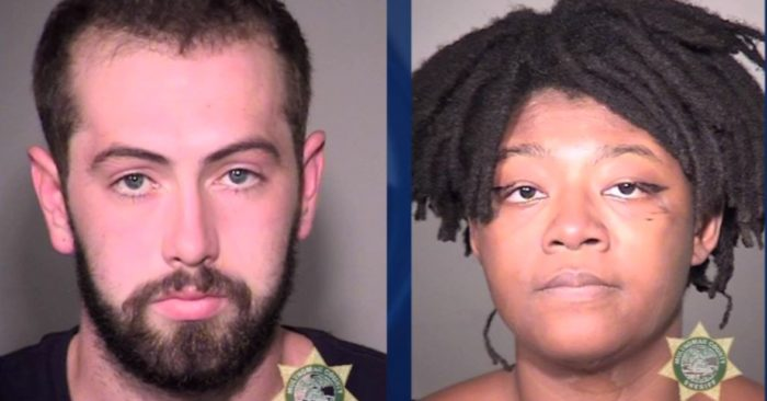 Leopold A. and Adebisi A. Okuneye, the couple arrested for attacking a Trump follower, on Aug. 24, 2019, in Portland Ore. (Screenshot/KPTV-KPDX)