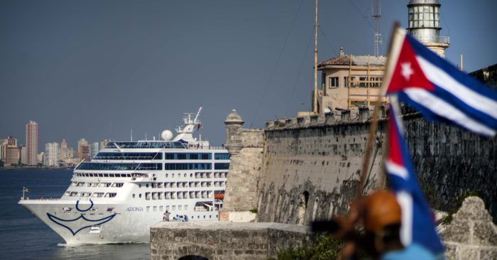 FILE - In this May 2, 2016 file photo, Carnival's Fathom cruise line ship Adonia arrives from Miami in Havana, Cuba. (AP Photo/Ramon Espinosa, File)