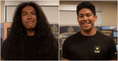 Soldier gets first haircut in 15 years to enlist U.S. Army