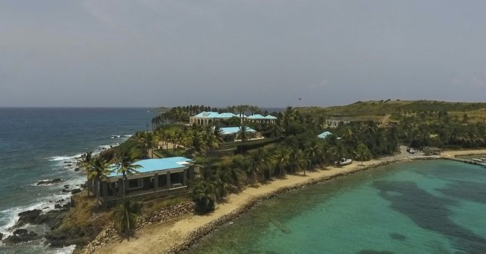 An image taken from a video dated July 9, 2019 shows an aerial view of Little Saint James Island, US Virgin Islands with a property acquired by financier Jeffrey Epstein over 20 years ago. (AP/ Gianfranco Gaglione)