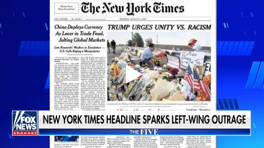 Cover of the New York Times newspaper (screenshot Fox News)