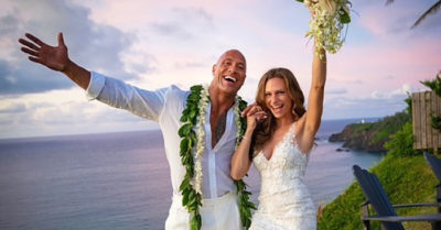 Movie star Dwayne Johnson and singer Lauren Hashian officially tie the knot