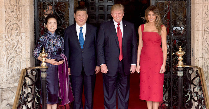 President Donald Trump and First Lady Melania Trump pose for a photo with Chinese leader Xi Jingping and his wife, Peng Liyuan, on April 6, 2017, at the entrance of Mar-a-Lago in Palm Beach, Fla. (D. Myles Cullen/Official White House Photo)