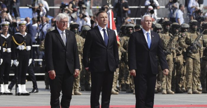 U.S. Vice President Mike Pence (R), Polish President Andrzej Duda (C), and German President Frank-Walter Steinmeier during a ceremony commemorating the 80th anniversary of the outbreak of World War II in Warsaw, Poland, on Sept. 1, 2019. (AP/Petr David Josek)