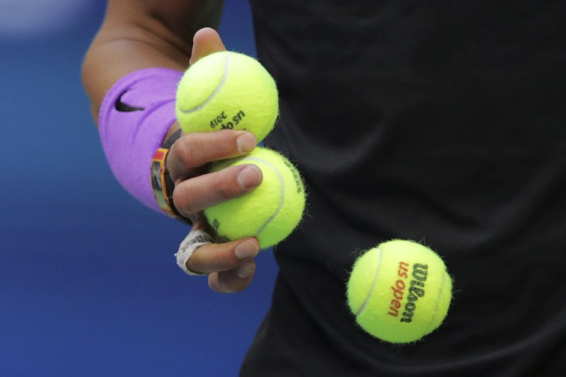 Rafael Nadal, of Spain, prepares to serve to Daniil Medvedev, of Russia, during the men's singles final of the U.S. Open tennis championships Sunday, Sept. 8, 2019, in New York. (AP Photo/Charles Krupa)