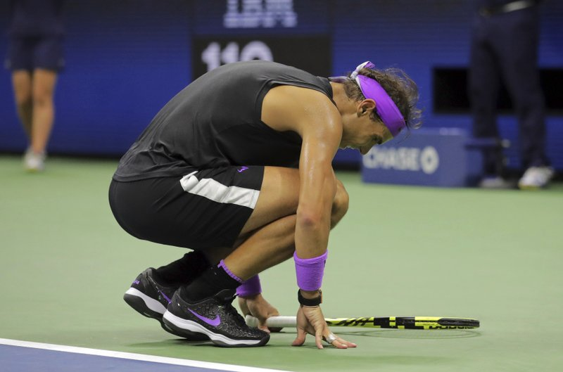 Rafael Nadal, of Spain, reacts after winning a point against Daniil Medvedev, of Russia, during the men's singles final of the U.S. Open tennis championships Sunday, Sept. 8, 2019, in New York. (AP Photo/Charles Krupa)