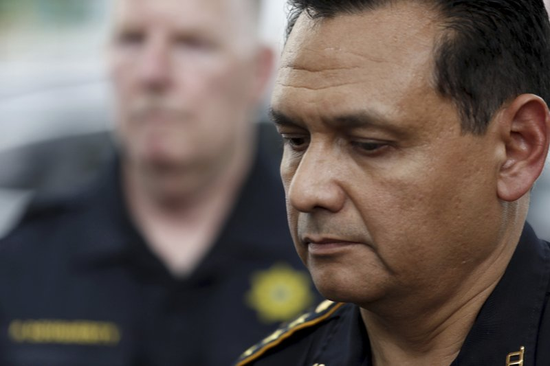 Harris County Sheriff Ed Gonzalezs pauses as he was speaking outside a hospital, announcing the identity of the slain Harris County Sheriff's office deputy as Sandeep Dhaliwal in Houston on Friday, Sept. 27, 2019. Dhaliwal was shot and killed while making a traffic stop Friday near Houston. (Brett Coomer/Houston Chronicle via AP)