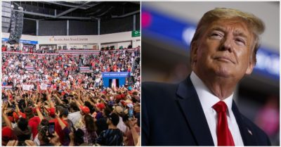 In photos: Huge overflow crowd has to watch President Trump's speech outside venue in New Mexico