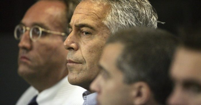 In this image, taken on July 30, 2008, Jeffrey Epstein appears before a court in West Palm Beach, Florida, USA. (AP Photo/Palm Beach Post, Uma Sanghvi, file)