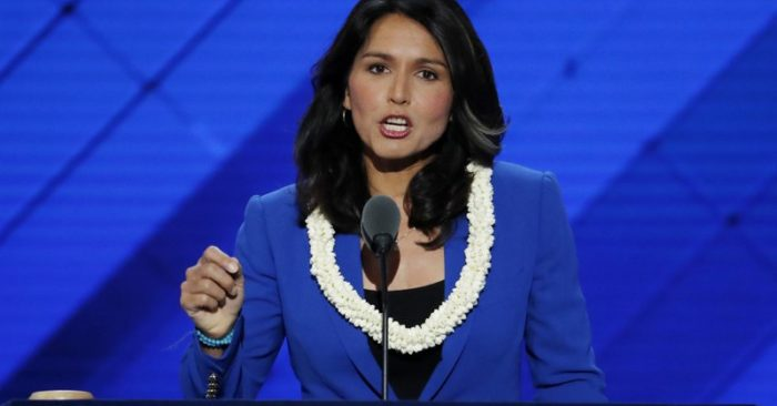 FILE - In this July 26, 2016 photo, Democratic Rep. Tulsi Gabbard speaks at the Democratic National Convention in Philadelphia, USA. (Photo AP/J. Scott Applewhite, File)