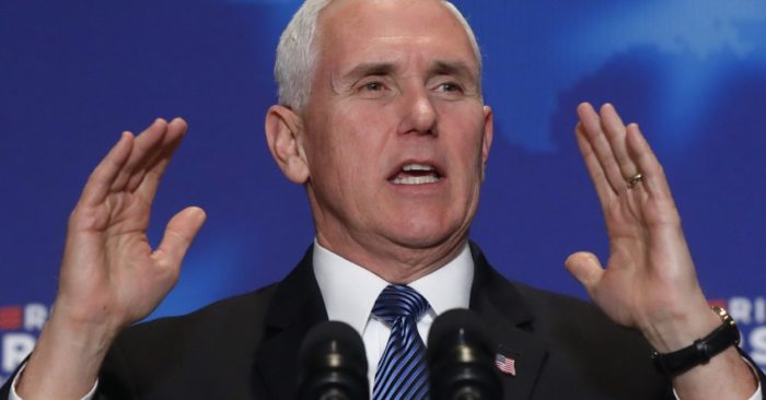 Vice President Mike Pence speaks at an event on March 2, 2018, in Detroit. (Photo AP/Paul Sancya)