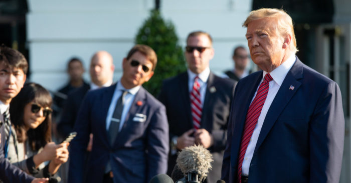 President Donald J. Trump talks to reporters Sept. 22, 2019. (White House official photo by Keegan Barber)