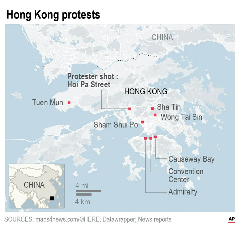 Map shows the protests across Hong Kong Oct. 1;