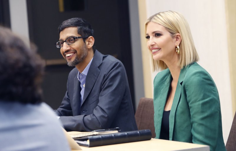 White House senior adviser Ivanka Trump, right, and Google CEO Sundar Pichai listen during a roundtable discussion at El Centro College in Dallas, Thursday, Oct. 3, 2019. Pichai announced that Google is committing to a White House initiative designed to get private companies to expand job training for American workers. (AP Photo/LM Otero)