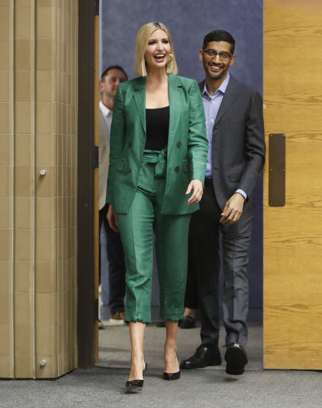 White House senior adviser Ivanka Trump, left, arrives with Google CEO Sundar Pichai for a round table discussion at El Centro College in Dallas, Thursday, Oct. 3, 2019. Pichai announced that Google is committing to a White House initiative designed to get private companies to expand job training for American workers. (AP Photo/LM Otero)