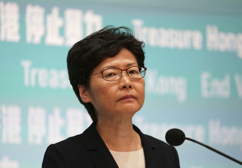 Hong Kong Chief Executive Carrie Lam speaks during a press conference in Hong Kong Friday, Oct. 4, 2019. Lam has banned protesters from wearing masks to conceal their identities in a hardening of the government's stance against the 4-month-old demonstrations. (AP Photo/Vincent Thian)