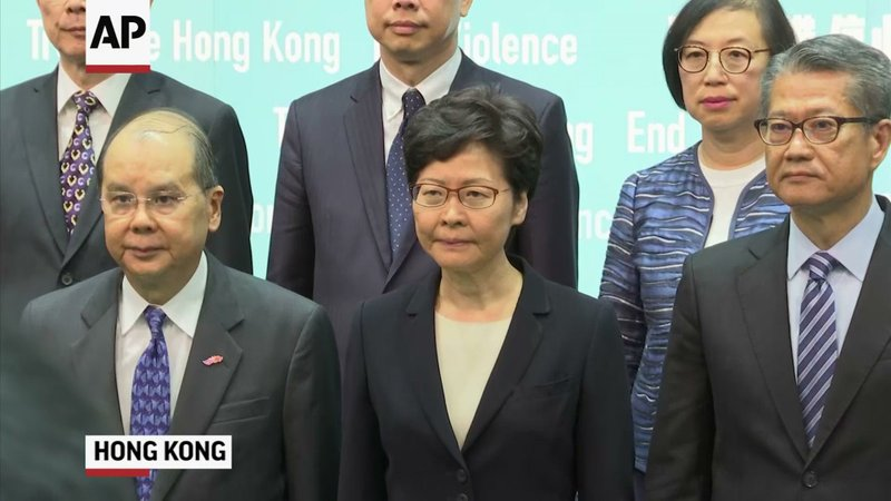 Hong Kong leader Carrie Lam banned protesters from wearing masks Friday in a hardening of the government's stance on the territory's most disruptive crisis since it reverted to Chinese rule in 1997. (Oct. 4)