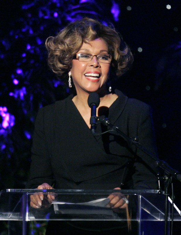 FILE - This June 14, 2007 file photo shows Diahann Carroll speaking at the 2007 Crystal and Lucy Awards in Beverly Hills, Calif. Carroll died, Friday, Oct. 4, 2019, at her home in Los Angeles after a long bout with cancer.  She was 84. (AP Photo/Mark J. Terrill, File)