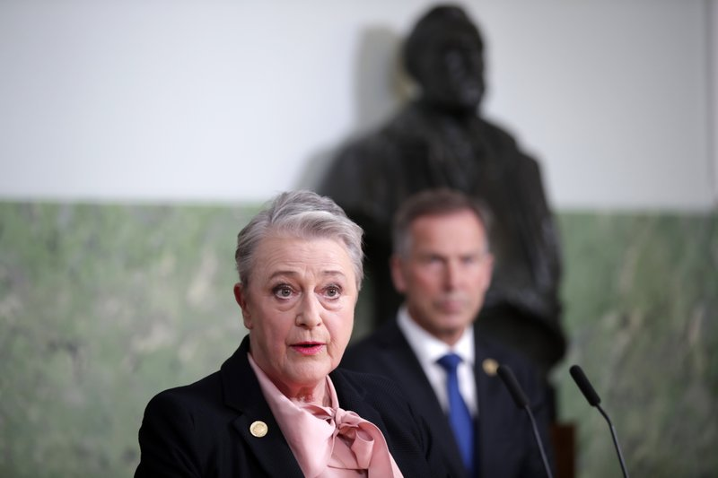 Berit Reiss-Andersen, chairwoman of the five-member Norwegian Nobel Institute, announces the 2019 Nobel Peace Prize, in Oslo, Norway, Friday Oct. 11, 2019. The 2019 Nobel Peace has been awarded to Ethiopian Prime Minister Abiy Ahmed. Ahmed was cited for his efforts to achieve peace and international cooperation, and in particular for his decisive initiative to resolve the border conflict with neighbouring Eritrea. (Stian Lysberg Solum/NTB Scanpix via AP)