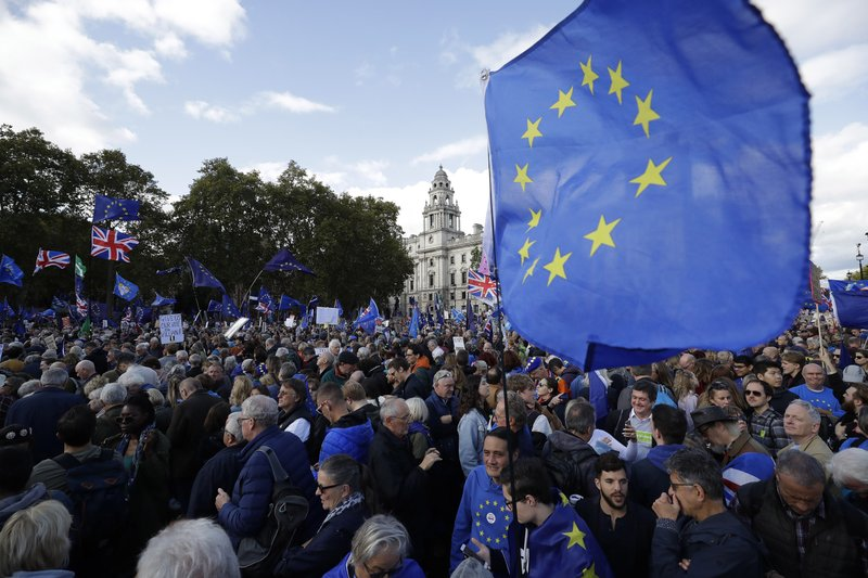 Anti-Brexit remain in the European Union supporters gather after taking part in a