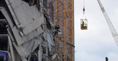 In New Orleans, damage to cranes causes demolition delay