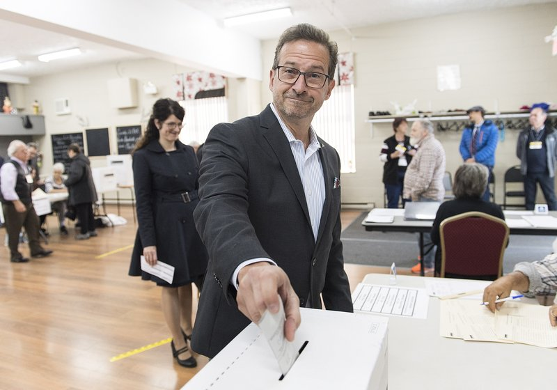 Bloc Quebecois Leader Yves-Francois Blanchet casts his ballot on federal election day in Shawinigan, Quebec, Monday, Oct. 21, 2019. (Graham Hughes/The Canadian Press via AP)