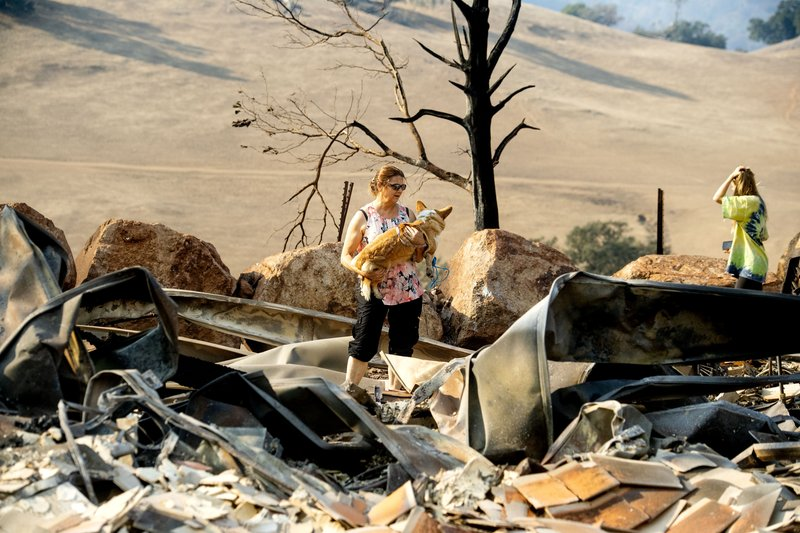 Stephanie LaFranchi holds her dog Jadzia while examining her husband's family home, leveled by the Kincade Fire, in Calistoga, Calif., on Monday, Oct. 28, 2019. According to Cal Fire, the blaze has scored more than 66,000 acres and destroyed at least 96 structures. (AP Photo/Noah Berger)