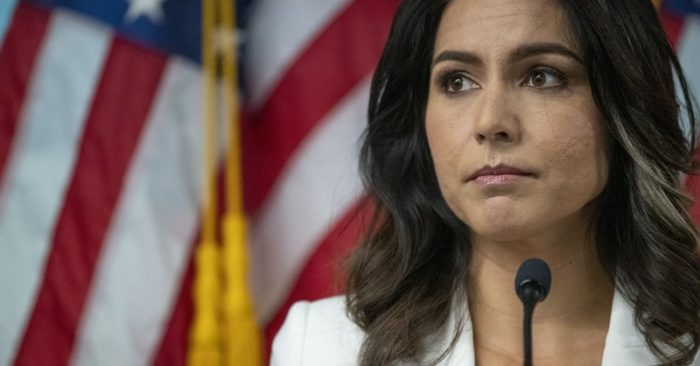Democratic presidential candidate U.S. Rep. Tulsi Gabbard (D-Hawaii), speaks during a news conference at the 9/11 Tribute Museum, Tuesday, Oct. 29, 2019, in New York. (Mary Altaffer/AP Photo)