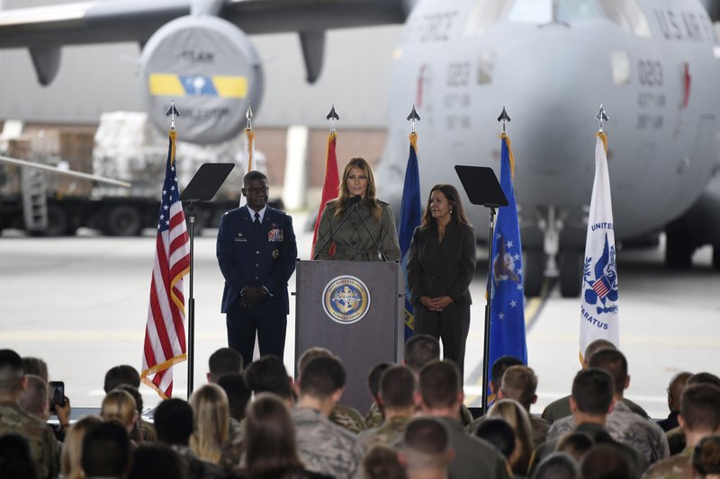 First lady Melania Trump addresses military members and their families on Wednesday, Oct. 30, 2019, at Joint Base Charleston, S.C. (AP Photo/Meg Kinnard)