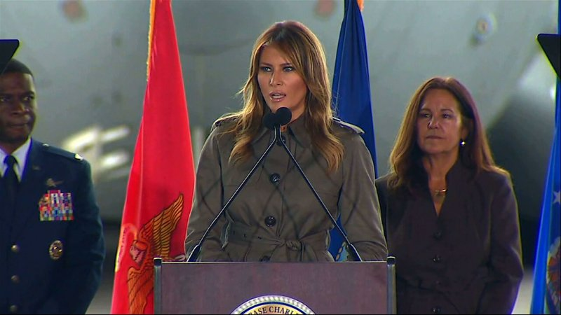 First Lady Melania Trump and Second Lady Karen Pence traveled to South Carolina Wednesday to talk to both military personnel and students about the state's emergency preparedness and disaster response efforts. (Oct. 30)