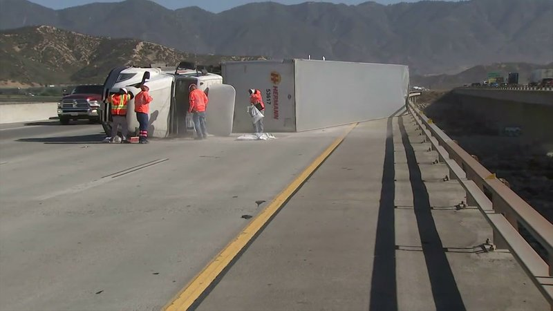 Strong winds that have fanned wildfires across California are also causing traffic problems. The winds have toppled several large trucks on Interstate 15 in Fontana, east of Los Angeles (Oct. 30)