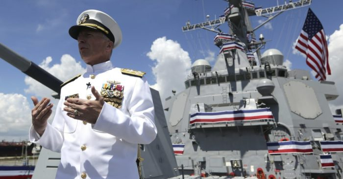 Navy Admiral Craig Faller, head of the U.S. Southern Command on July 27, 2019 at Port Everglades in Fort Lauderdale, Florida. (AP/Lynne Sladky)
